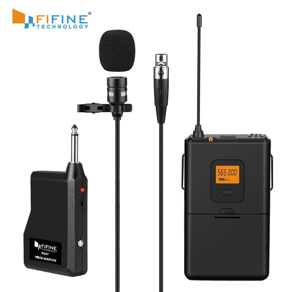 Fifine 20-Channel UHF Wireless Lavalier Lapel Microphone System with Bodypack Transmitter Mini  Lapel Mic  amp  Portable Receiver