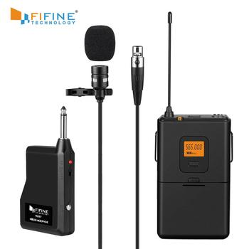 Fifine 20-Channel UHF Wireless Lavalier Lapel Microphone System with Bodypack Transmitter, Mini  Lapel Mic & Portable Receiver xtuga uhf wireless lavalier lapel microphone system live recording mic with rechargeable transmitter
