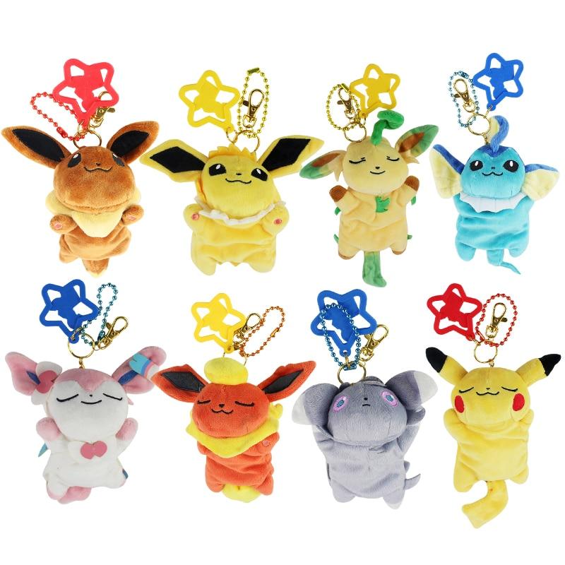 17CM Sylveon Eevee Espeon Umbreon Soft Plush Toy Keychain Cartoon Small Mini Pendant Soft Dolls Bag Decoration