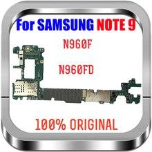 100% original desbloqueado para samsung galaxy note 9 n960f n960fd placa mãe, mainboard nota 9 placas lógicas substituir, bom trabalho