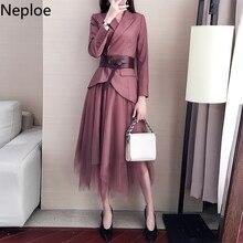 Neploe/осенние платья женские модные облегающие утягивающий пояс костюм плюс размер костюм темперамент выше колена комплект из двух предметов 46729