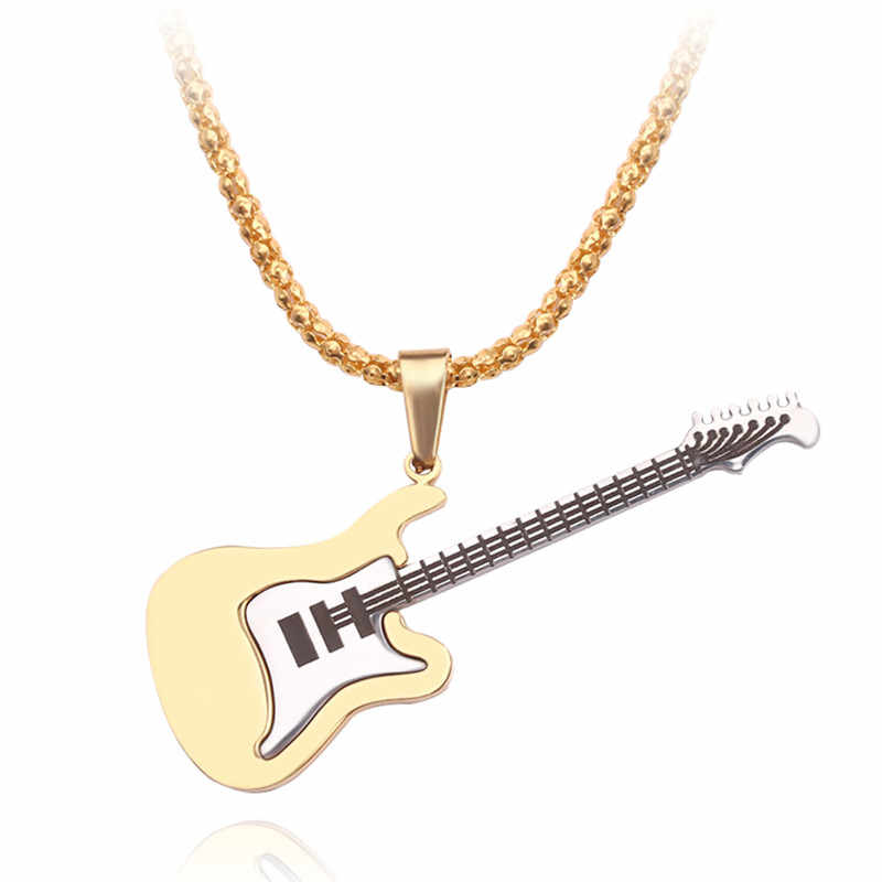 Gold Alsino Halskette mit Gitarrenanh/änger Fasching Karneval Rockstar Gitarrenkette Musik Kette Plektrum Schmuck Party