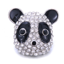 New Fashion Snap Jewelry Full Rhinestone Panda 18mm Snap Buttons Fit Leather Snap Bracelet Bangles DIY Charms Jewelry 6pcs lot 2019 new snap jewelry mixed colorful rhinestone crystal 18mm snap button jewelry fit snap bracelet diy charms jewelry