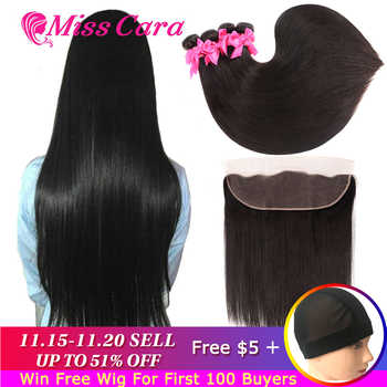 Peruvian Straight Hair Bundles With Frontal Miss Cara 100% Remy Human Hair 3/4 Bundles With Closure 13*4 Frontal With Bundles - DISCOUNT ITEM  51% OFF All Category