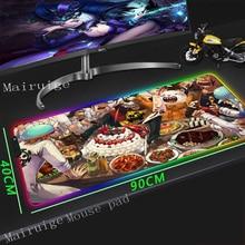 Mairuige Large RGB Mouse Pad Black Edge Anime One Piece Birthday Cake Custom Student Computer Keyboard Desk Mat Rubber Non-slip
