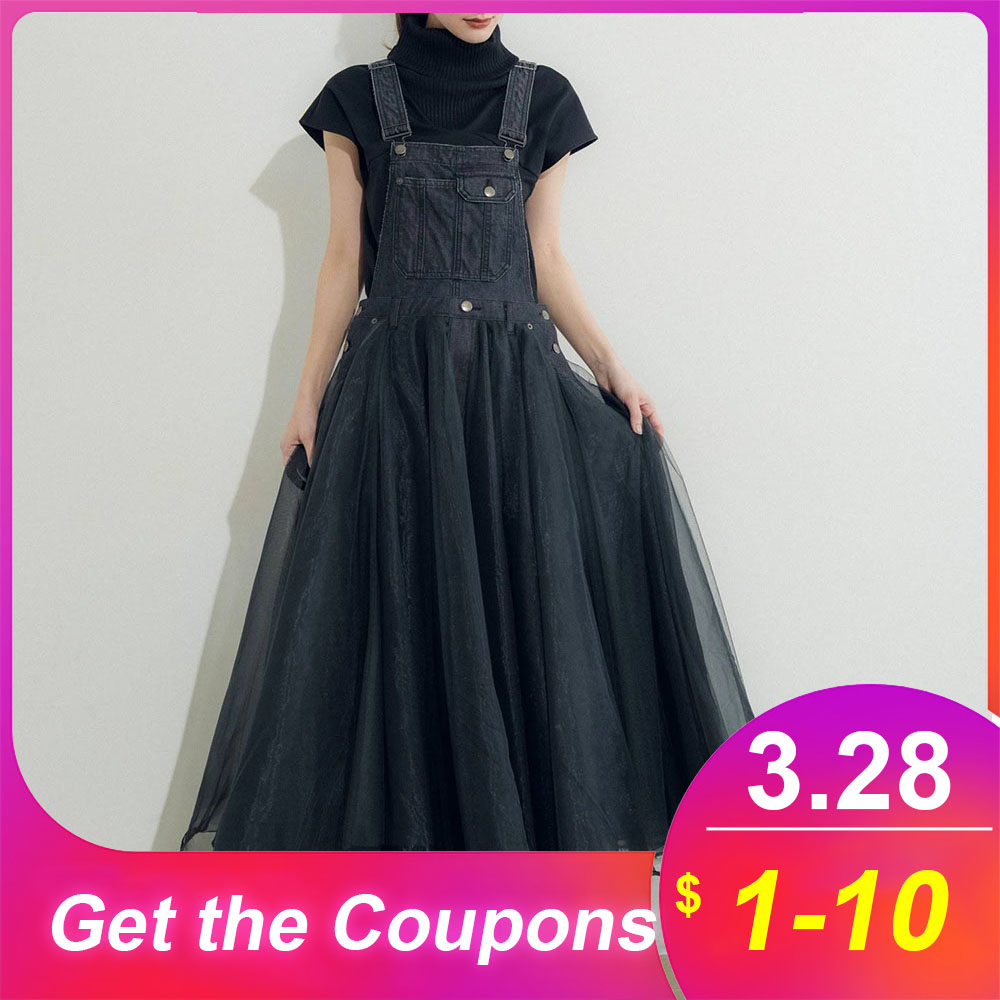High Waist Women Dress Korean 2020 Summer Mesh Sleeveless Lady Denim Maxi Dresses Robe Janpanese Expansion Femme Vestiods Dress