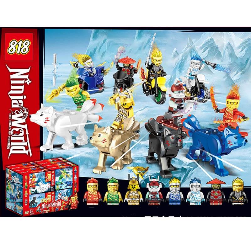 Nouvelle vente LegoINGlys Ninjagoed MiniFigure blocs de construction Kai Jay Cole Zane Lloyd Bones moto renard apprentissage jouets bébé cadeaux