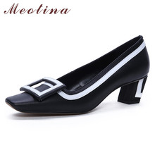 Meotina High Heels Women Shoes Natural Genuine Leather Block Heels Shoes Real Leather Buckle Square Toe Pumps Ladies Size 33-40