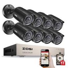 ZOSI 8CH система видеонаблюдения 8x720P 1.0MP наружная/Внутренняя ИК Всепогодная домашняя Камера Безопасности HD CCTV DVR комплект