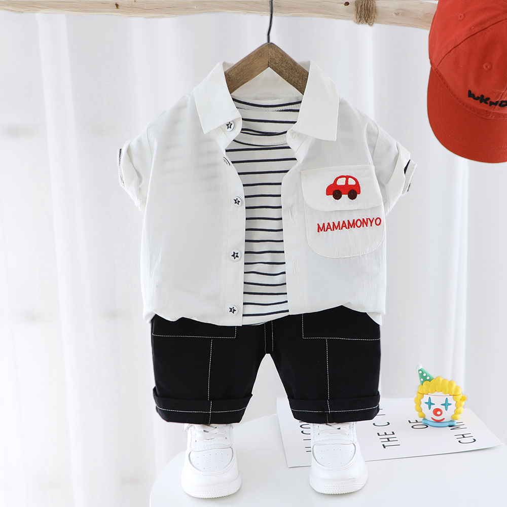 Newborn Baby Boys Summer Clothes Set T-shirt Black Shorts 2 Pieces Children Outfits Short Sleeve Toddler Kids Embroidered Car