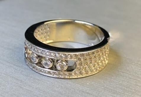 925 argent sterling cristal toboggan pierre argent anneaux mode trois rond pierre mobile serrure anneaux romantique amoureux de mariage anneaux - 2