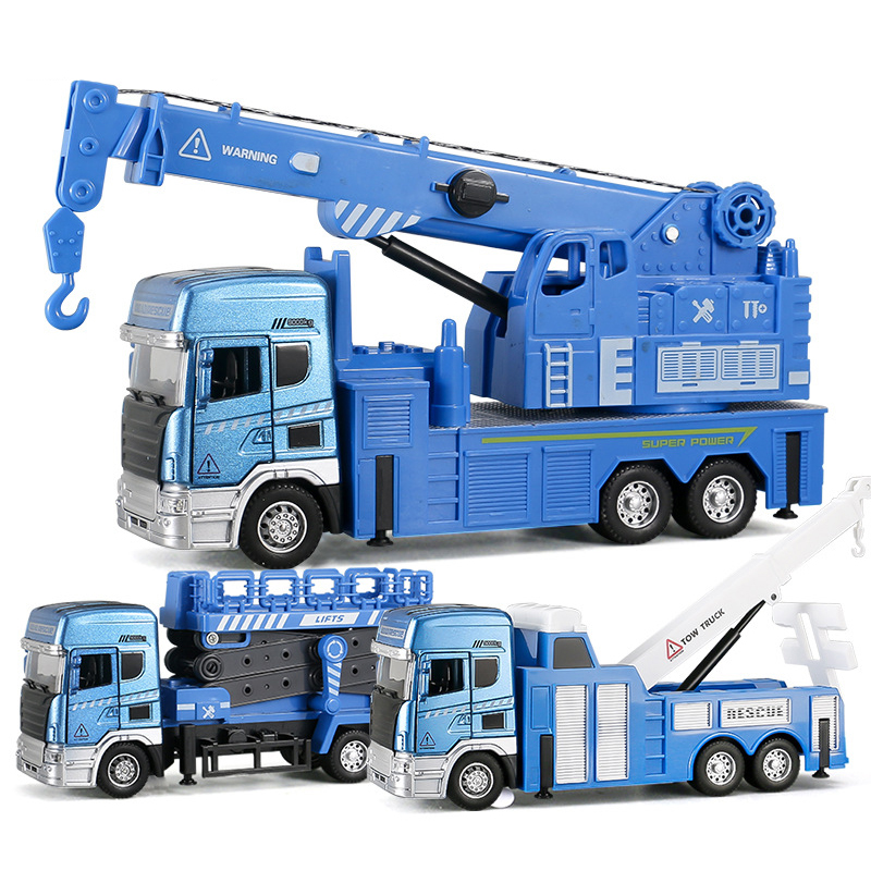 Sound Light City Service Tower Crane Trucks Alloy Police Flatbed Trailer Garbage Truck Educational Toy Car for Boy Children Y184