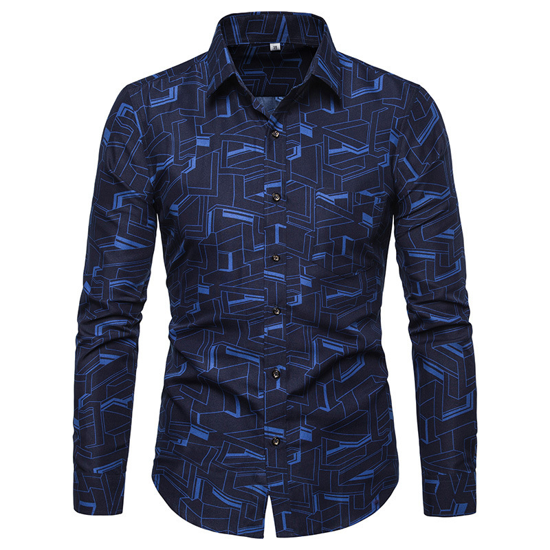 2020 Fashion Floral Long SLeeve Men's Shirts Plus Size 5XL  Flower Printed Casual Camisas Masculina Black White Red Male Shirt