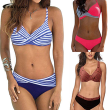все цены на ZAFUAZ 2019 Women Backless Stripe Twist Front Crossed Tankini Halter Swimsuit Retro Bathing Suit Plus Size Bathing Suit Female онлайн
