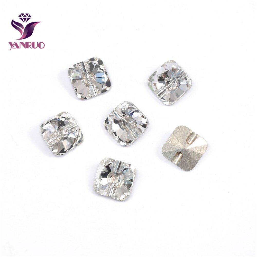 YANRUO 3009 cristal strass boutons carré couture vêtements bricolage Decorativos canapé Bling artisanat