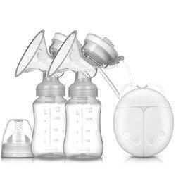 Двойные электрические молокоотсосы для грудного вскармливания с USB, мощный всасывающий сосок насос с бутылочкой для холодного нагрева, инс...