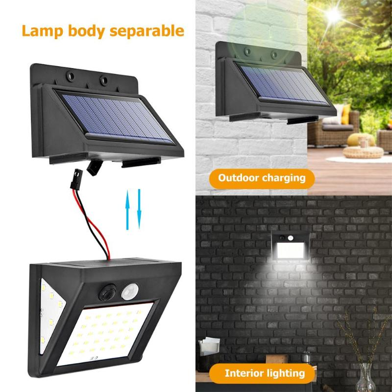 3 Modes 30/40 / 60led Split Solar Light Outdoor PIR Motion Sensor Wall Lamp Waterproof Split Garden Street Light Night Light