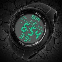 HONHX Fashion Electronic Watches Men's LED Digital Alarm Sport Watch Silicone Military Army Quartz Wristwatch relogio masculino
