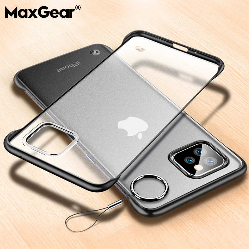 Frameless Case For iPhone 11 Pro X XR XS Max Luxury Slim Phone Cover With Ring For 6 6S 7 8 Plus Hard Matte Transparent Cover