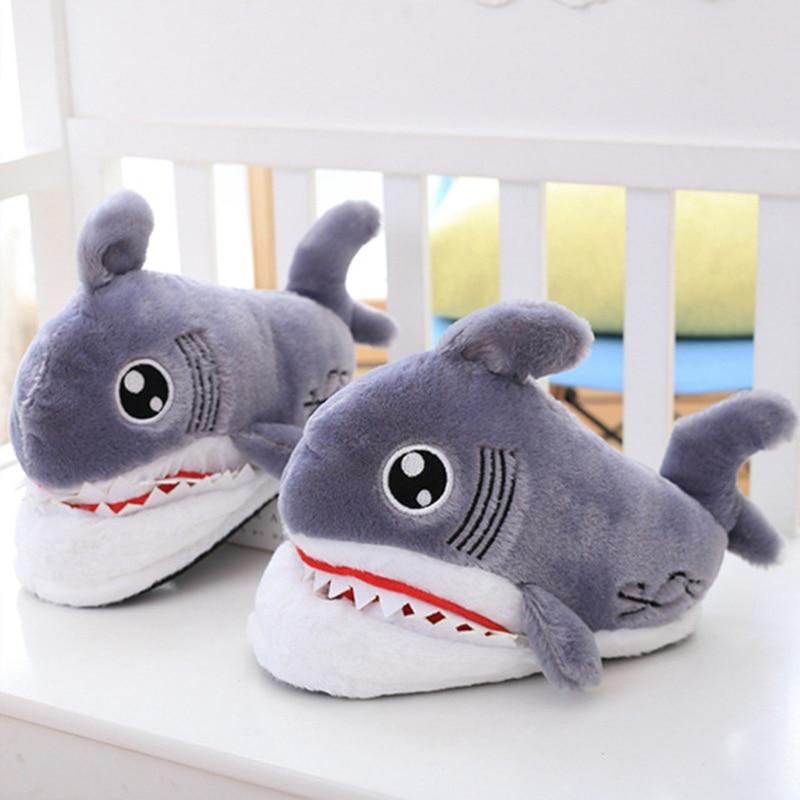Superstar Shark Cartoon Cute Slippers Women Suede Plush Warm Winter Woman EVA Fur Non Slip Indoors