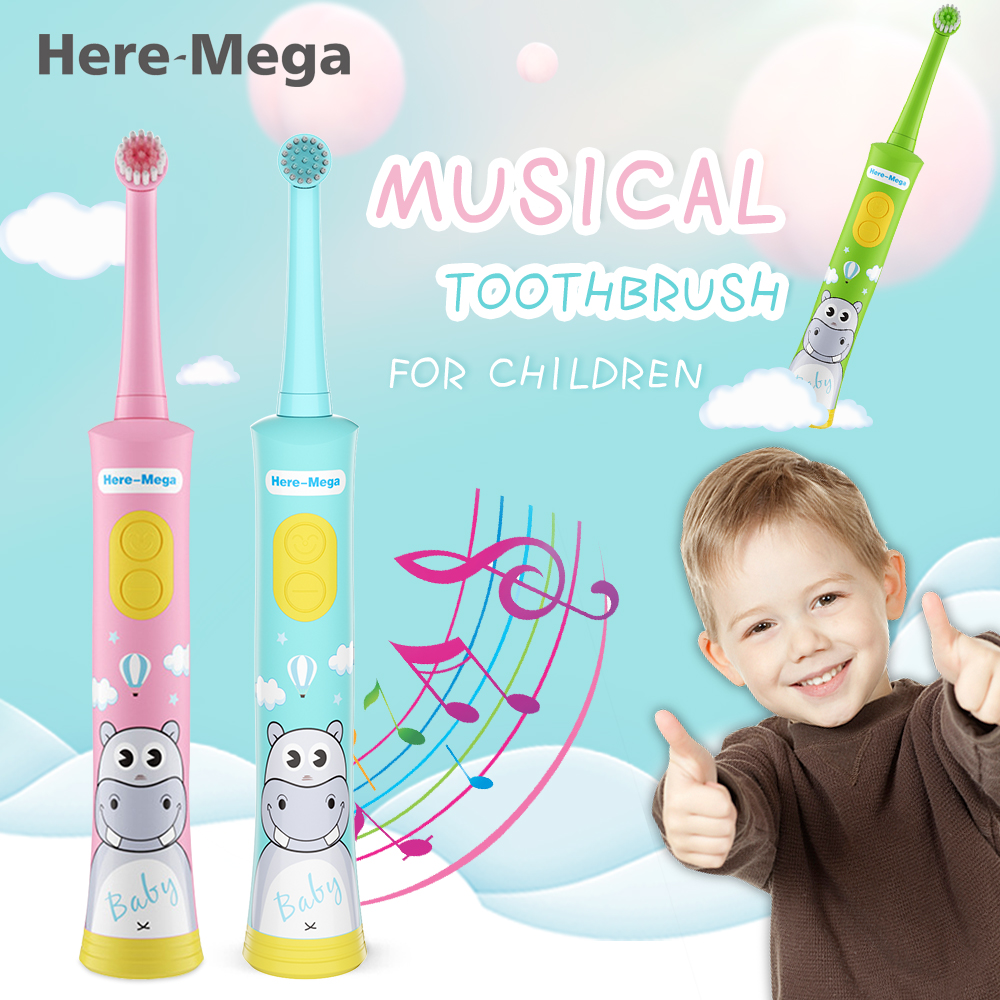 HERE-MEGA electric toothbrush for children kids automatic toothbrush children's toothbrush baby Musical Rotation Type waterproof image