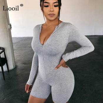 Liooil Black Gray Bodycon Playsuit Women Wear On Both Sides Sexy Jumpsuit Autumn 2020 Zip Up Party Club Romper Jumpsuits Shorts 4