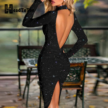 Glitter Mock Neck Backless Ruched Slit Bodycon Dress Women Long Sleeve Midi Part
