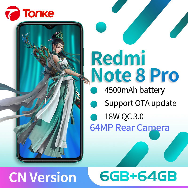 "Xiaomi Redmi Note 8 Pro 6GB 64GB 64MP Quad caméra arrière Smartphone MTK Helio G90T Octa Core 4500mAh batterie NFC 6.53 ""Version CN"