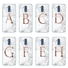 Letter Monogram A B C D white marble Cases For Coque Huawei Mate 10 20 30 Lite Pro Y9 2019 Soft TPU Phone Bags Cover Capinha(China)