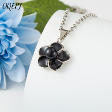 OQEPJ New Fashion Black Flower Necklace Pendant Stainless Steel Simple Elegant Plant Necklaces For Women Personalized Jewelry