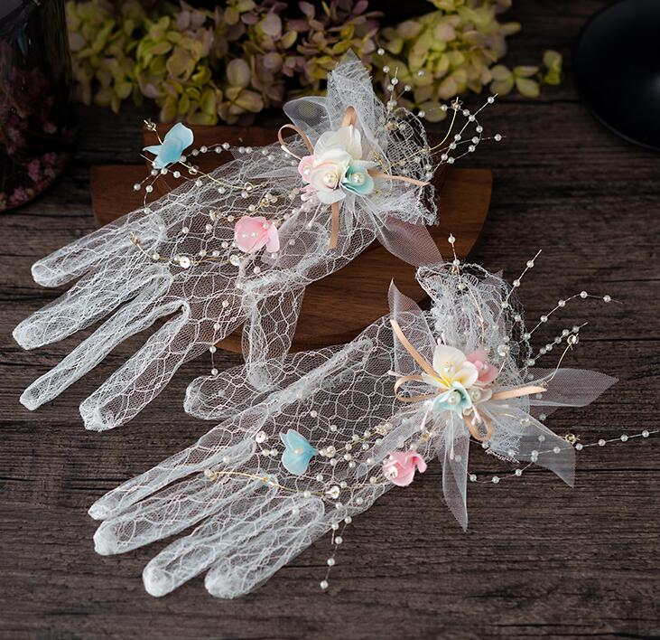 Women's Sexy Transparent Flower White Mesh Glove Female Summer Sunscreen Club Party Dancing Glove R1926