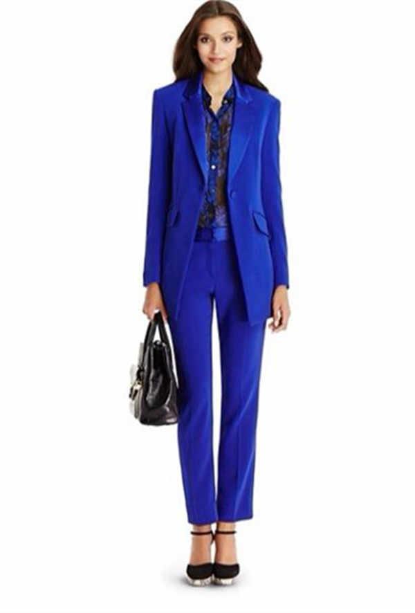 Herfst Winter Kantoor Dame Blazer Vrouwen Jas Basic Elegante Dames Office Royal Blue Broek Past Tweedelige Custom Made pak