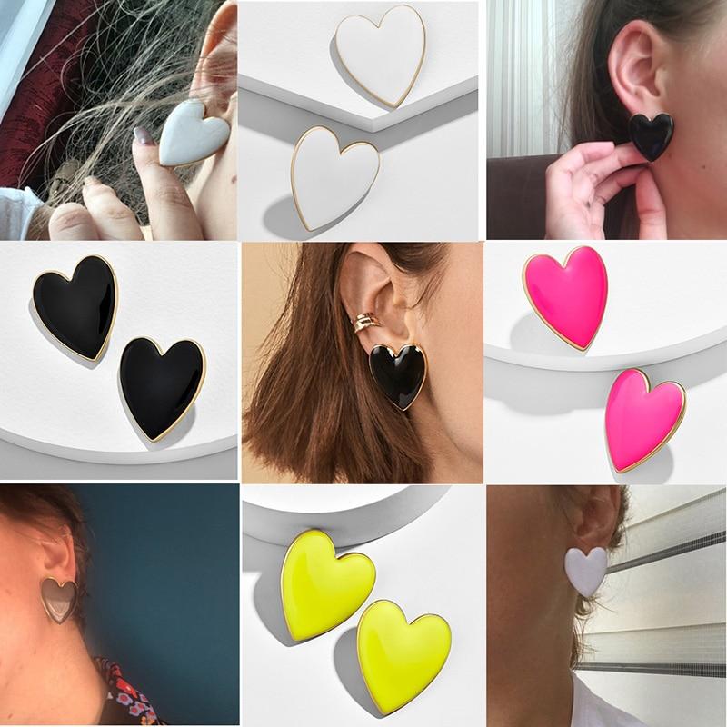 2019 Street Style Black White Pink Yellow Heart Stud Earrings For Women Minimalist Korean Fashion Love Heart Enamel Earring