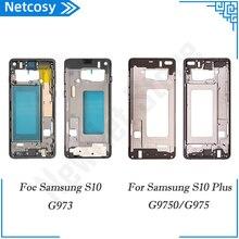Para Samsung Galaxy S10 G973 S10Plus G9750 Voltar Mid Quadro Oriente Moldura Tampa da caixa Traseira reparação peças de Reposição Para S10 + G9750