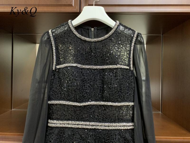 2020 preto marcas designer feminino vintage mangas compridas vestido de renda miçangas bordado vestido floral longo banquete festa longo vestido - 5