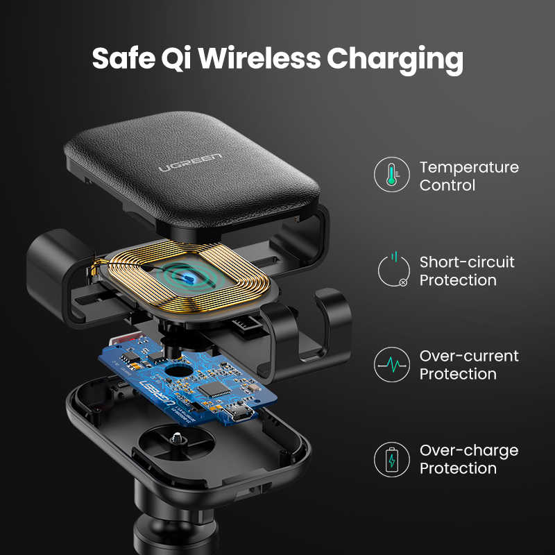 شاحن سيارة لاسلكي من Ugreen لهواتف آيفون 11 برو XS X 8 Fasr لاسلكي لشحن هواتف سامسونج S9 S10 وشاومي mi 9 Qi شاحن لاسلكي
