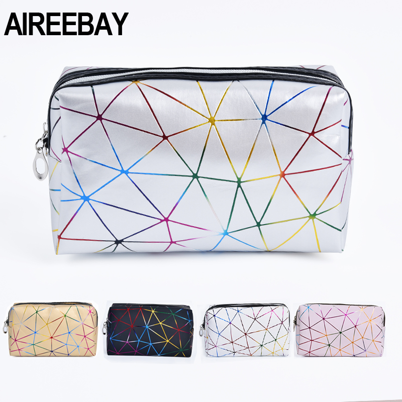 AIREEBAY Laser Cosmetic Bag Fashion Holographic Cosmetic Makeup Pouch Laser Zipper Purse Bag Waterproof Portable Toiletry Cases