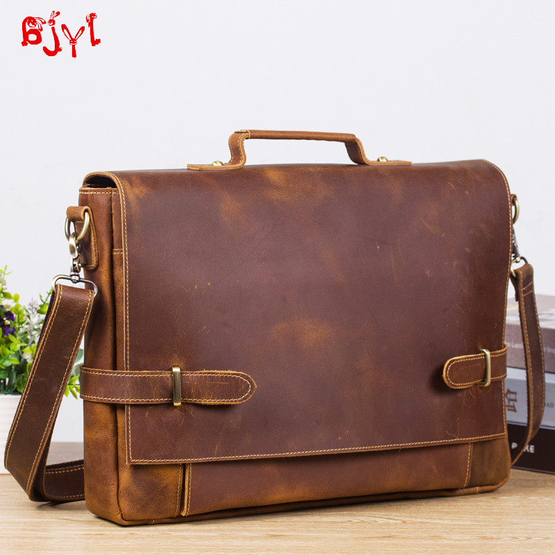 Retro Men's Leather Business Briefcase Men Leather Large-Capacity Handbag Crazy Horse Leather Male Shoulder Cross Computer Bags