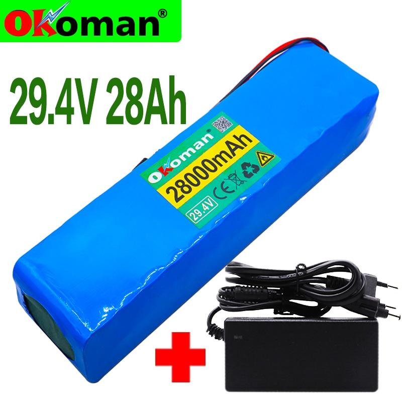 Okoman 7S4P 24V 28ah 29,4 V для литиево-ионного аккумулятора Встроенный BMS Электрический велосипед Одноколесный велосипед Скутер мотор для инвалидной ...