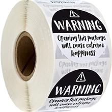 Preto e branco adorável aviso sricker etiquetas extrema felicidade etiquetas para o negócio presente embalagem envelope adesivos 500 pces