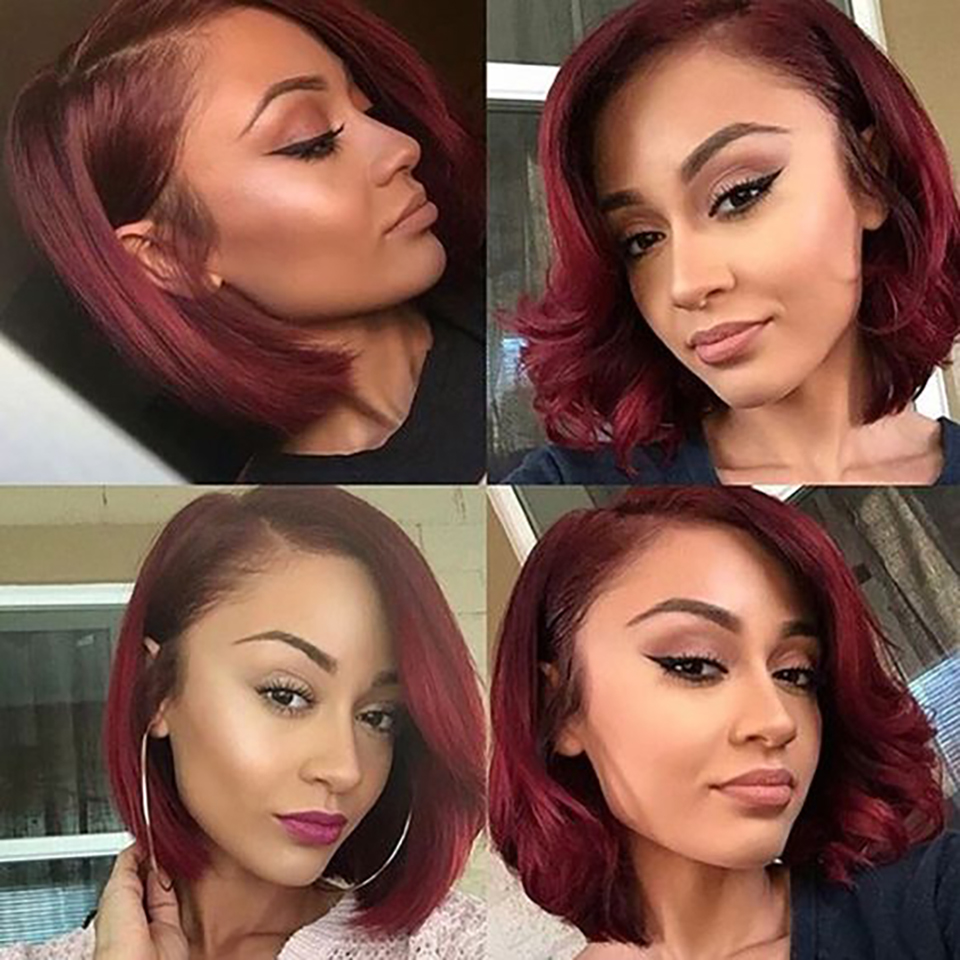 14Inches Short Bob Wig Burgundy Color Natural Middle Part Wig  Red Ombre Wigs Cosplay Hair Straight Wave Bob Wig 6