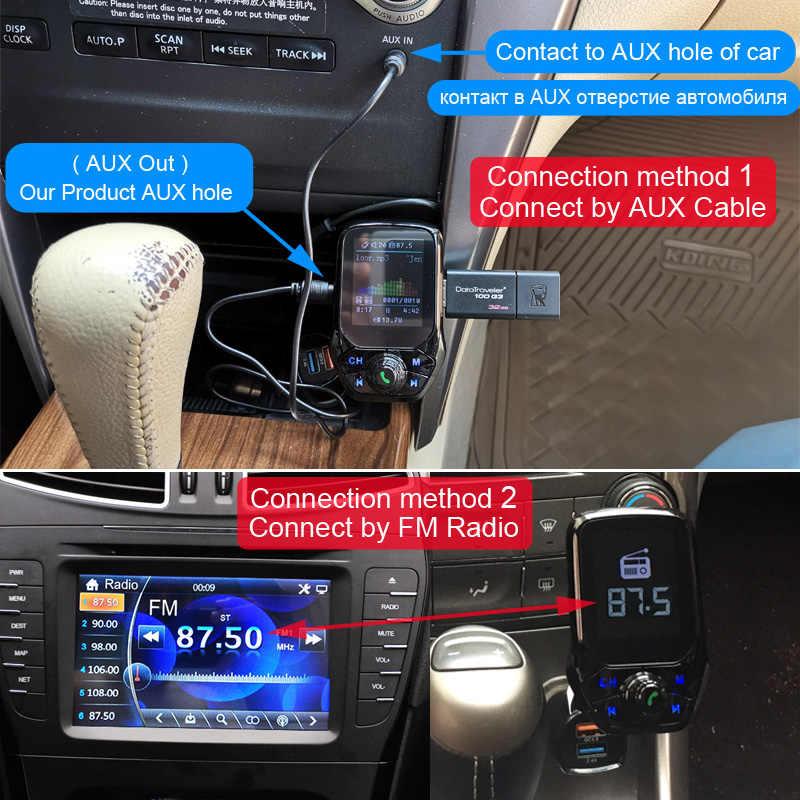 JAUNTY Manos Libres Bluetooth Coche Transmisor FM Bluetooth 4.2 Escanear Autom/áticamente Adaptador de Radio Inal/ámbrico de Coche Llamadas Manos Libres Kit Reproductor MP3 Puerto USB Dual de 5V//2.4A QC3.0 Cargador R/ápido