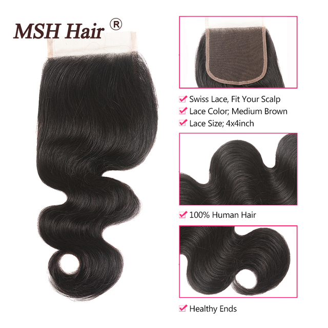 MSH Hair Brazilian Body Wave 3 Bundles With Closure Human Hair Weaves Remy Hair Bundles With 4 5