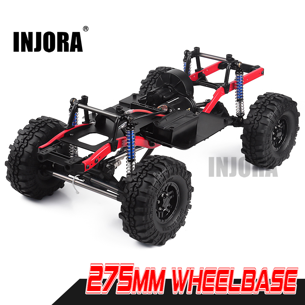 INJORA RC Car 275mm Wheelbase Assembled Frame Chassis With Wheels For 1/10 RC Crawler Car SCX10 D90 TF2 MST