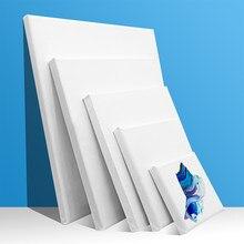 6 Pièces En Bois de Coton Plaine Blanc Étiré Toile De Peinture Acrylique Encadré 10x10cm 15x15 15x20 20x20 25x25 20x30 30x30 30x40cm