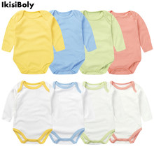 2021 Baby Ropa Bebe Newborn Girl Long Sleeve Rompers Clothes Bodysuits Kids New 3-24M Boys Infant Cotton Summer Body Pure Color