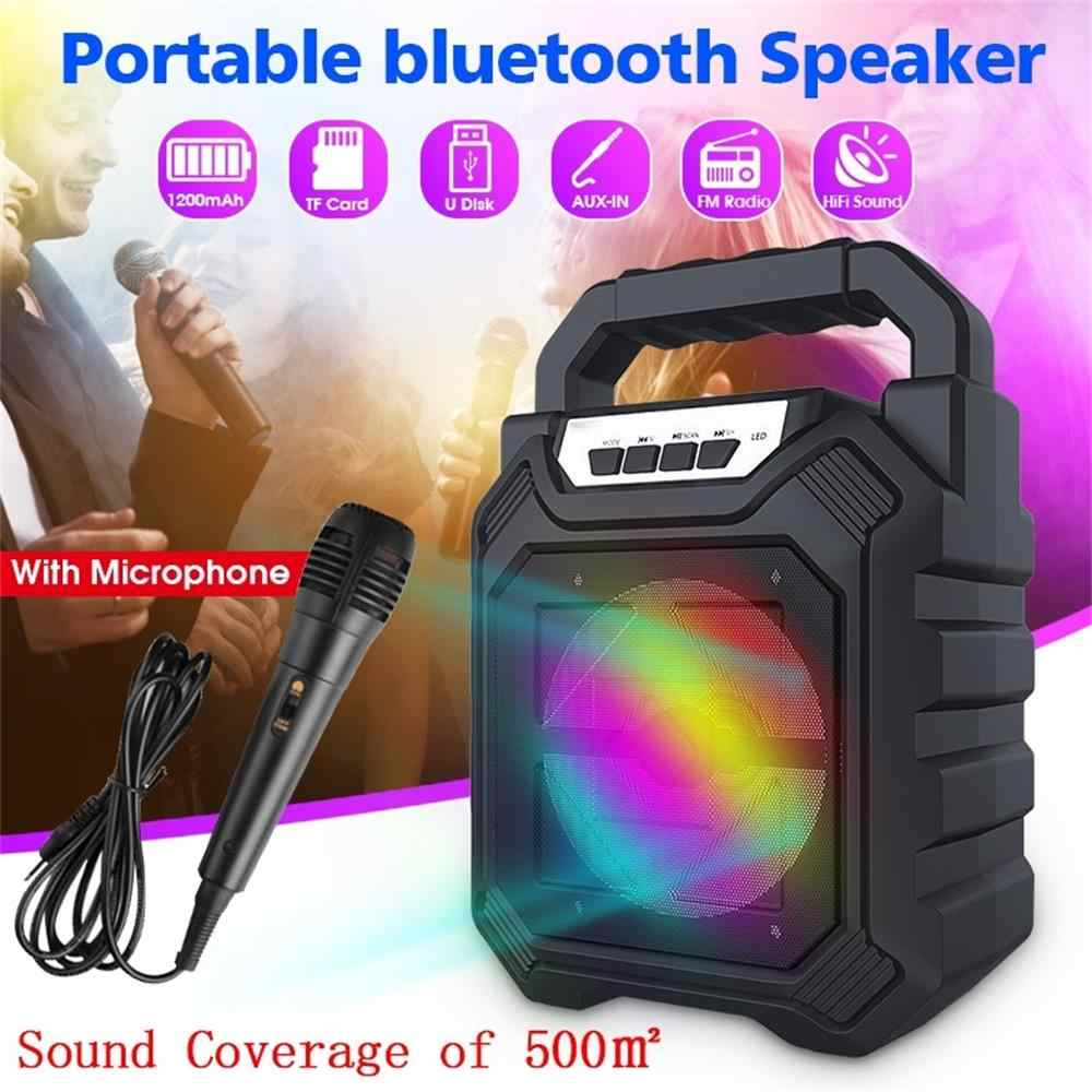 Speaker Portabel Bluetooth Nirkabel Besar Stereo Stereo FM Radio LED Light Tahan Air Portable Outdoor Speaker dengan Mikrofon