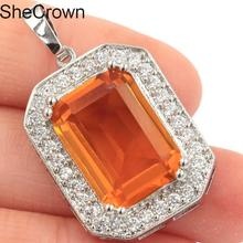 Fantastic Big Gemstone Golden Citrine CZ Ladies Wedding Silver Pendant 35x21mm