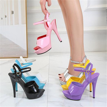 Summer Walking Show Artifact Model high-heeled Shoes Sandals Thin-heeled 13/15 cm Sexy Black Platform Hate Sky - discount item  35% OFF Women's Shoes