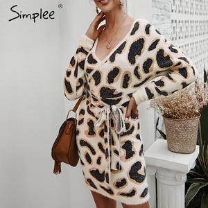Image 2 - Simplee Vrouwen luipaard gebreide jurk Lange mouwen v hals bodycon trui jurk Streetwear kantoor dame riem herfst winter jurk
